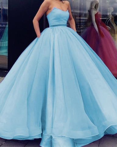 Image of Light-Blue-Quinceanera-Dresses-Ball-Gowns-Strapless-Prom-Dress