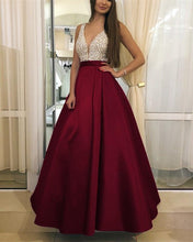 Load image into Gallery viewer, Burgundy-Prom-Dresses-Long-Satin-Evening-Gowns