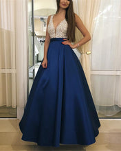 Load image into Gallery viewer, Dark-Blue-Prom-Dresses-Long-Satin-Evening-Gowns