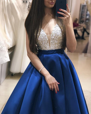 Image of Plunge Neck Floor Length Satin Prom Evening Dress Sequin Beaded