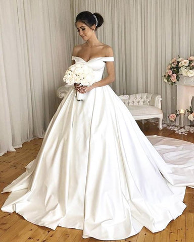 Image of Classic Off Shoulder Satin Wedding Dresses Ball Gowns