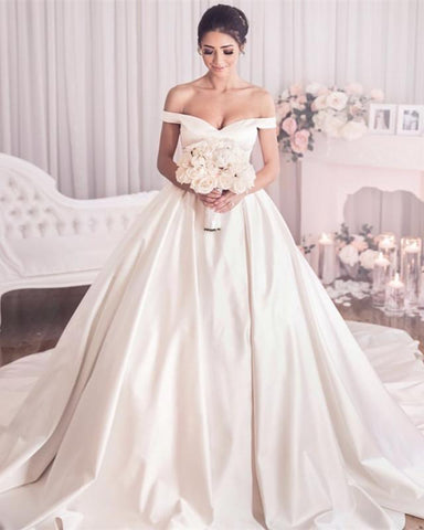 Image of Wedding-Dresses-Satin-Off-Shoulder-Ball-Gowns