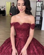Load image into Gallery viewer, Burgundy-Wedding-Dresses-Lace-Off-Shoulder