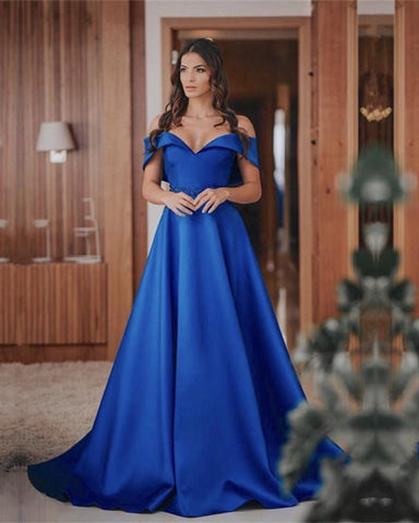 Image of 2019-Prom-Dresses-Long-Satin-Royal-Blue-Evening-Gowns