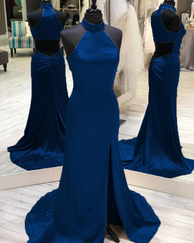 Image of Long Satin Open Back Mermaid Prom Dresses Halter Neck