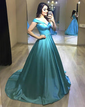 Load image into Gallery viewer, Long Satin Beaded Sashes V-neck Off Shoulder Ball Gown Prom Dresses