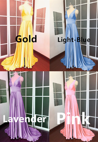 Long Chiffon V-neck Empire Waistline Leg Slit Bridesmaid Dresses