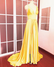 Load image into Gallery viewer, Gold-Bridesmaid-Dresses-Long-Chiffon-Formal-Gowns