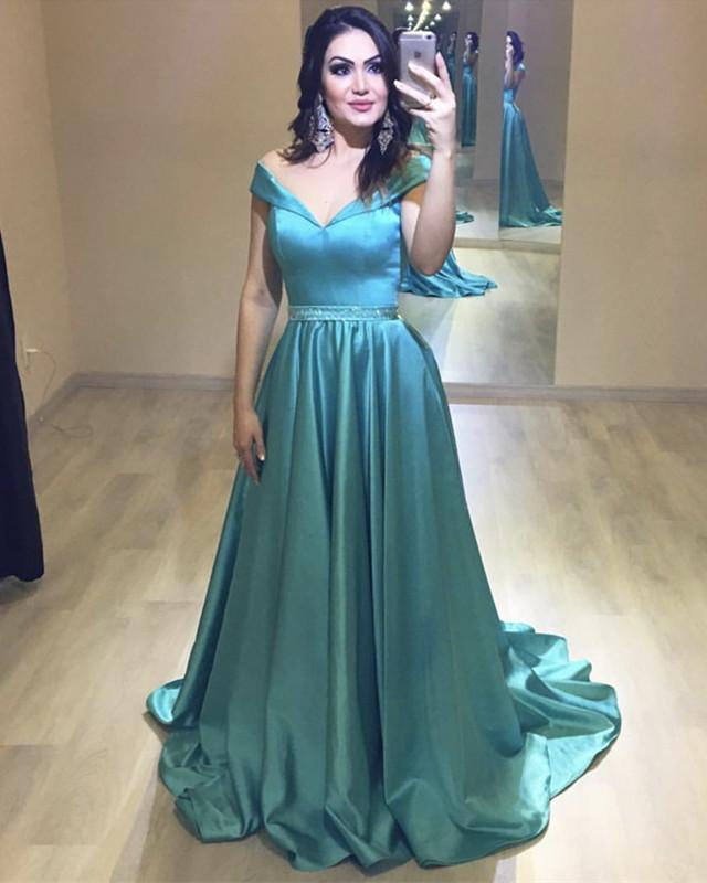 Long Satin Beaded Sashes V-neck Off Shoulder Ball Gown Prom Dresses