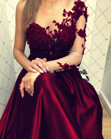Image of Lace Long Sleeves Satin Prom Evening Dresses One Shoulder