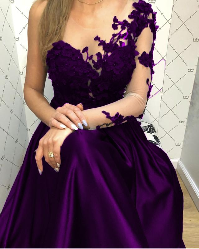 Lace Long Sleeves Satin Prom Evening Dresses One Shoulder