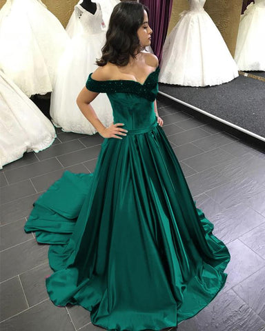 Image of Beaded V-neck Off The Shoulder Satin Ball Gowns Wedding Dress