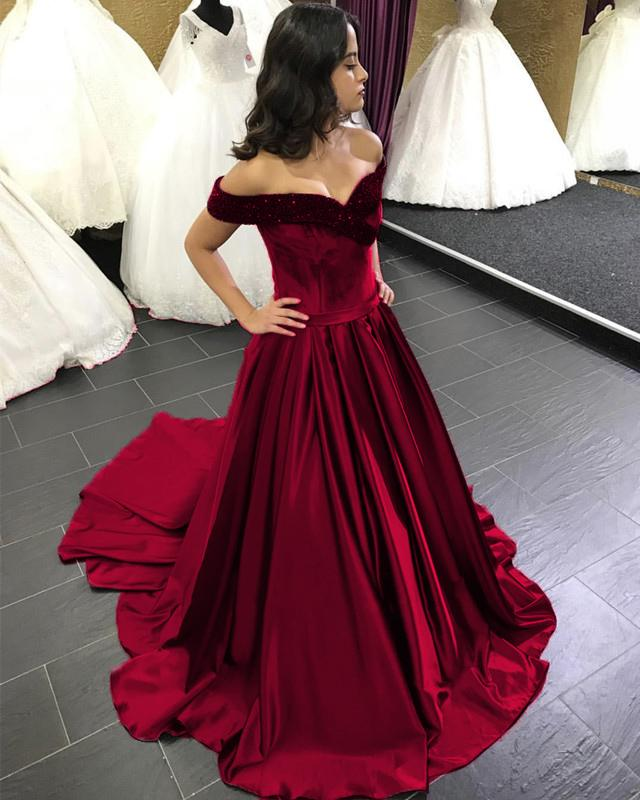Beaded V-neck Off The Shoulder Satin Ball Gowns Wedding Dress