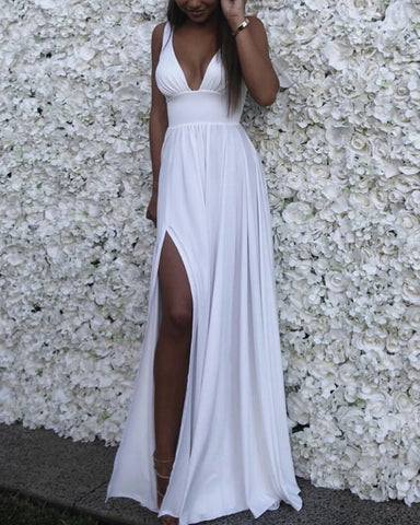 High Street Chiffon Beach Wedding Dresses Plunge Neck
