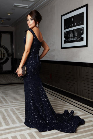 Image of Glitter Sequin V-neck Mermaid Evening Gowns Court Train Prom Dress
