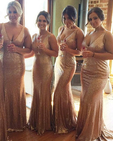 Image of Long Rose Gold V-neck Empire Waist Mermaid Sequined Bridesmaid Dresses