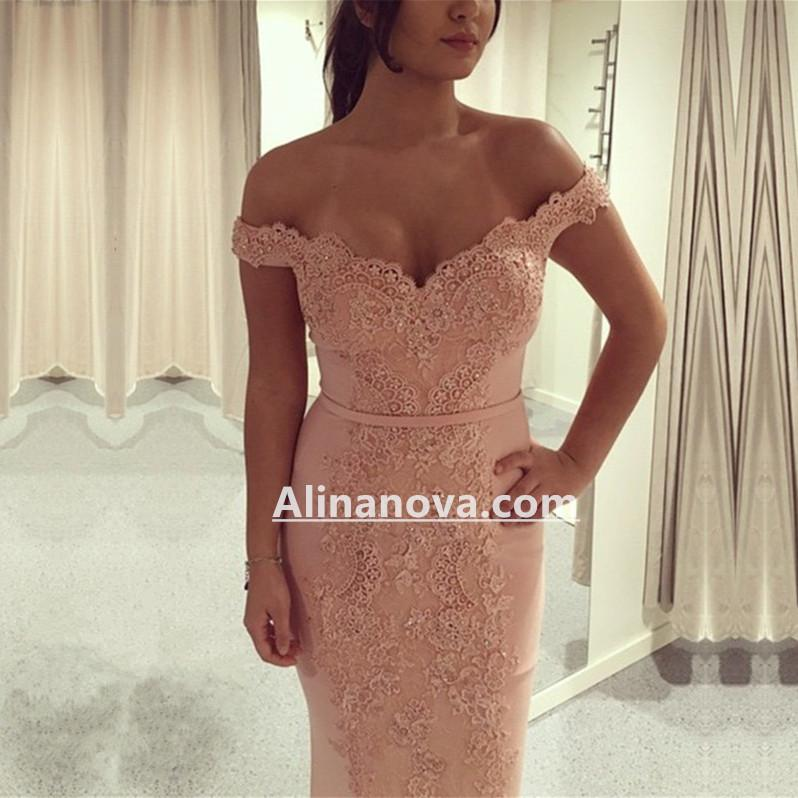 Off Shoulder Pink Mermaid Prom Evening Dresses Lace Appliques