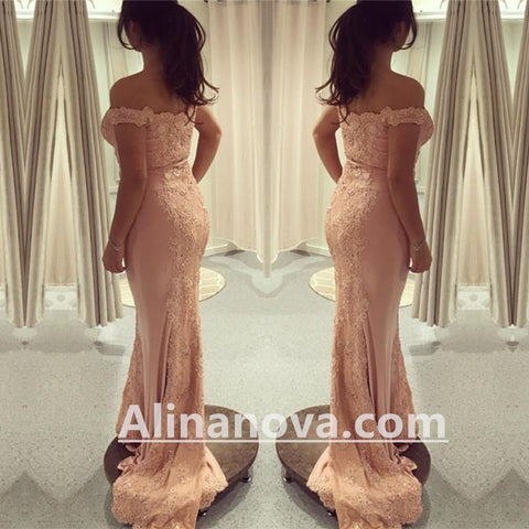 Image of Off Shoulder Pink Mermaid Prom Evening Dresses Lace Appliques