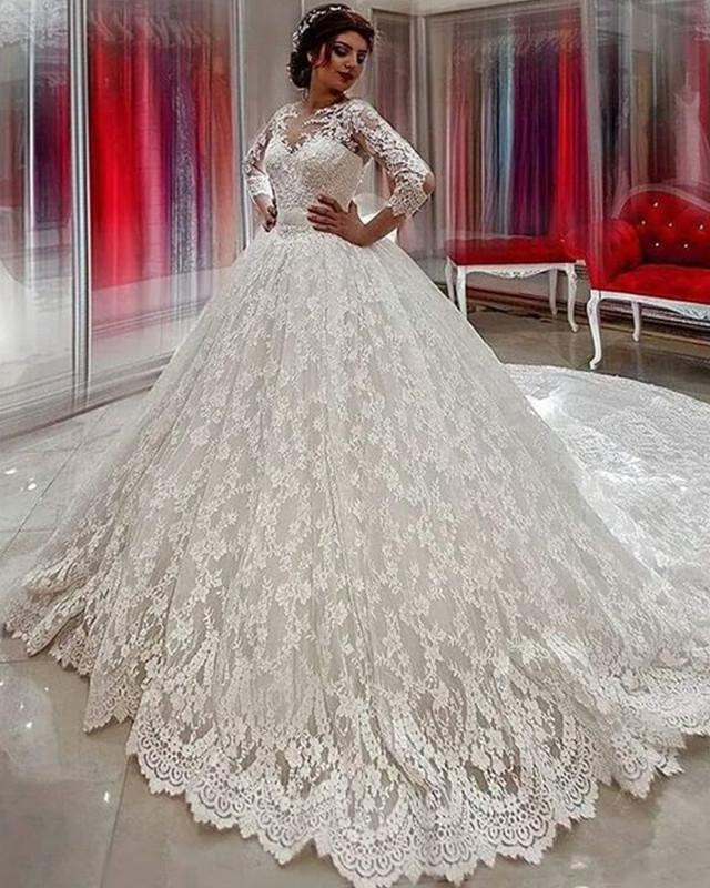 Modest 3/4 Sleeves Ball Gowns Lace Wedding Dresses