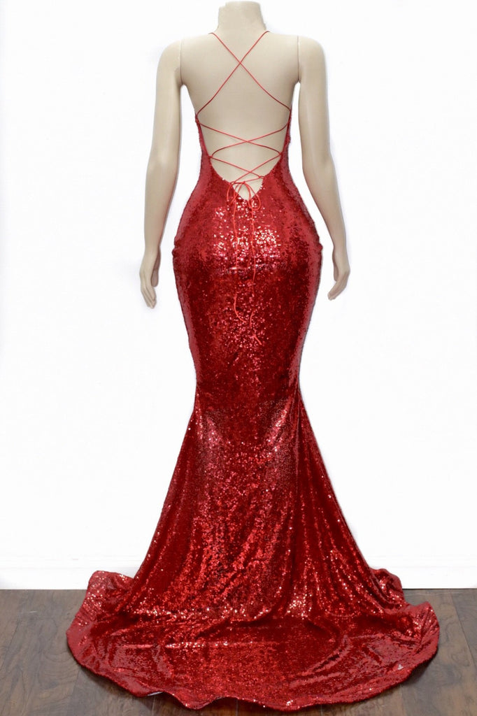 Mermaid V-neck Cross Back Sequins Prom Evening Dresses