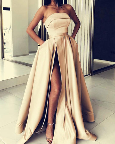 Image of Long Satin Strapless Prom Dresses Split Evening Gowns