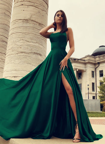 Image of Sexy Open Back Satin Split Prom Dresses Long Evening Gowns