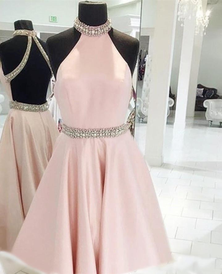 Crystal Beaded High Neck Short Pink Satin Homecoming Dresses 2018