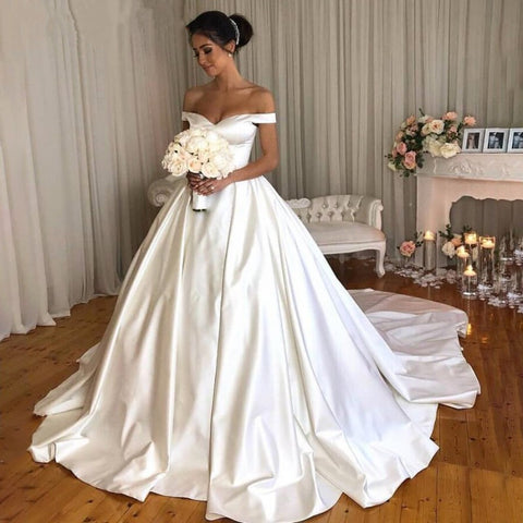 Image of Women's-Off-The-Shoulder-Bridal-Gowns-For-Weddings