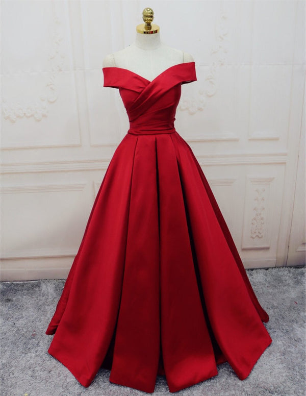 Burgundy Satin Off The Shoulder Ball Gowns Evening Dresses 2018