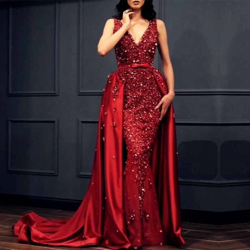 Charming Crystal Beaded Lace V Neck Mermaid Evening Dress Removable Skirt