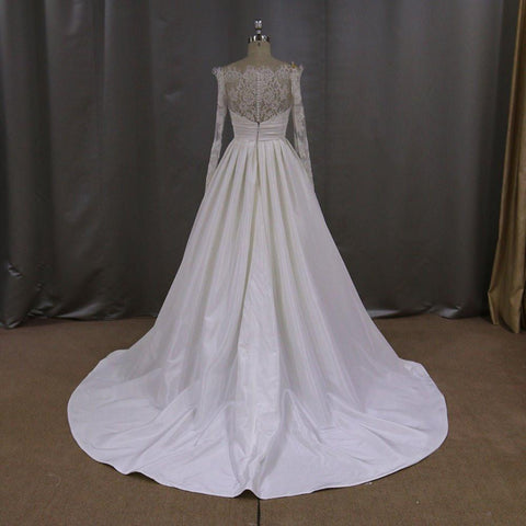 Image of Lace Long Sleeves Taffeta Princess Wedding Dresses Off The Shoulder