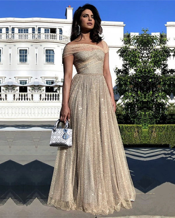 Stylish Sequins Tulle Cap Sleeves Prom Evening Dresses