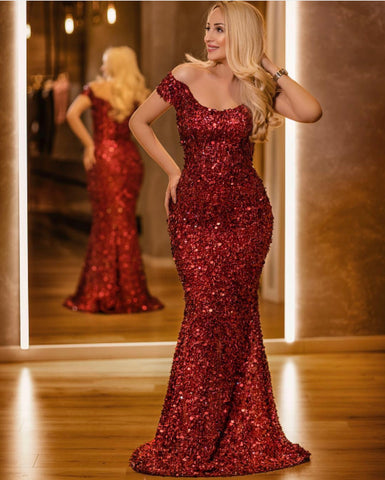 Image of Luxurious Sequins Off Shoulder Mermaid Prom Dresses