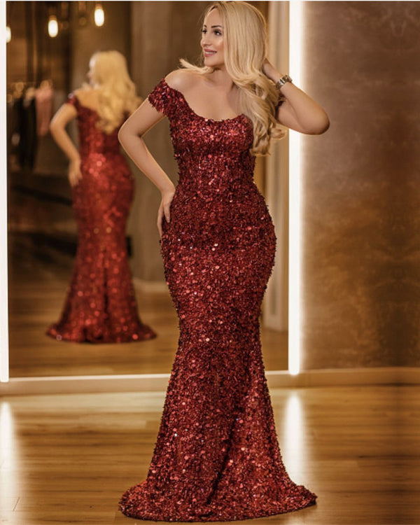 Luxurious Sequins Off Shoulder Mermaid Prom Dresses