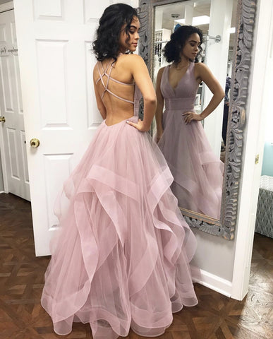 Image of Sexy Deep V-neck Organza Ruffles Prom Dresses Ball Gowns