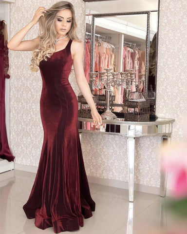 Image of Spaghetti Straps Long Corset Mermaid Velvet Evening Dresses