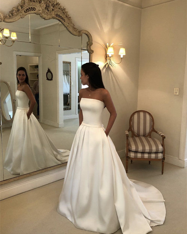 Princess Style Wedding Gowns: Princess Style Strapless Bodice Corset Satin Wedding