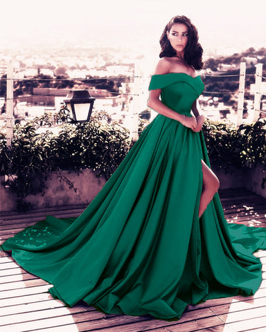 Image of V-neck Off The Shoulder Long Satin Prom Dress 2019 Split Evening Gowns