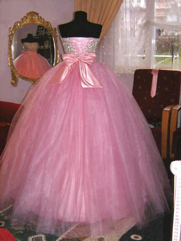 Image of Fully Beading Sweetheart Bow Back Quinceanera Dresses Ball Gowns