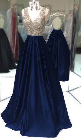 Image of Deep V Neck Long Satin Keyhole Back Prom Dresses 2017