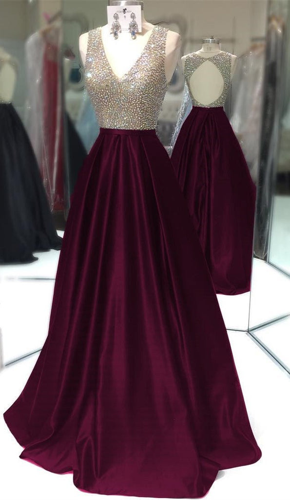 Deep V Neck Long Satin Keyhole Back Prom Dresses 2017