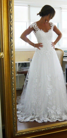 Image of Wedding-Dresses-Cap-Sleeves