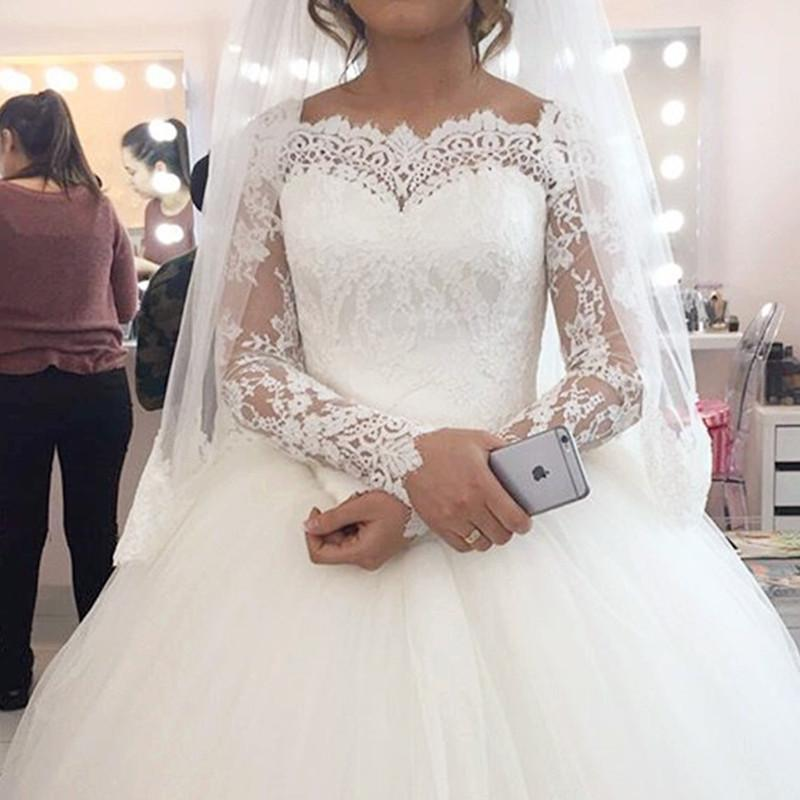 Lace Long Sleeves Wedding Dresses Ball Gowns