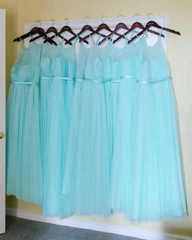 Image of Aqua-Blue-Long-Tulle-Bridesmaid-Dresses-Halter-Top