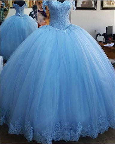 Image of Light Blue Quinceanera Dresses 2020