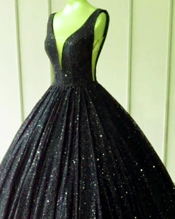 Black Prom Dresses Sequin Ball Gown