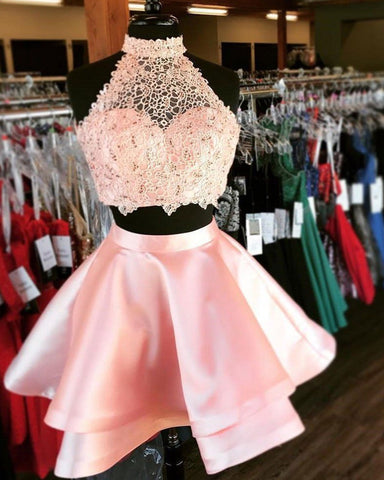 Image of Blush Pink Homecoming Dresses Two Piece