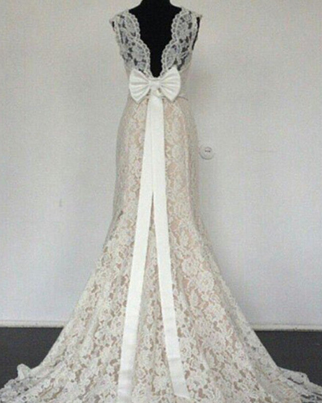 Bow Back Wedding Mermaid Lace Dresses