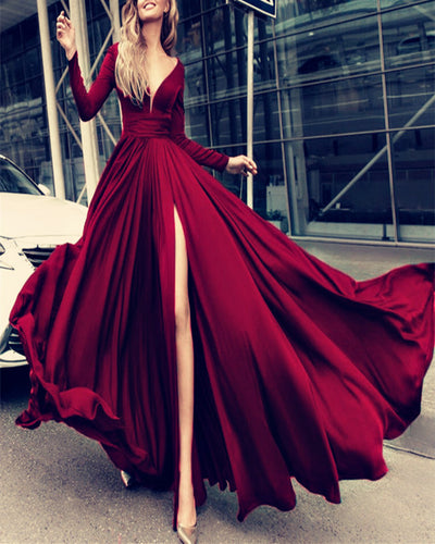 Long Sleeves Burgundy Prom Dresses 2020