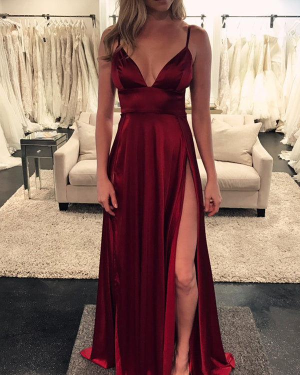 Long Burgundy Formal Gowns